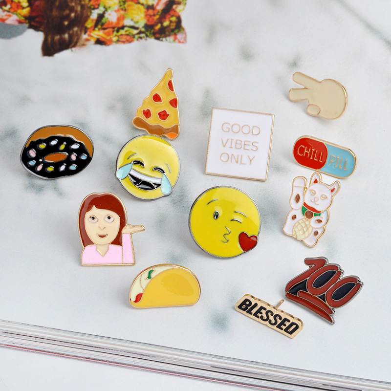 Home & Garden Apparel Sewing & Fabric Cartoon Animal Lovely Character Brooches For Jacket Jeans Food Expression Brooch Alloy Badges On Backpack