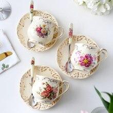 MUZITY, европейский стиль, керамическая чайная чашка и блюдце, фарфоровая кофейная чашка с нержавеющей ложкой, дизайн розы
