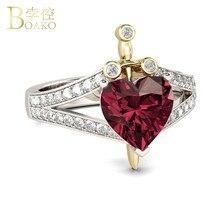 Heart Red Gem CZ Rings for Women Forever Love Heart Zirconia Wedding Ring Female