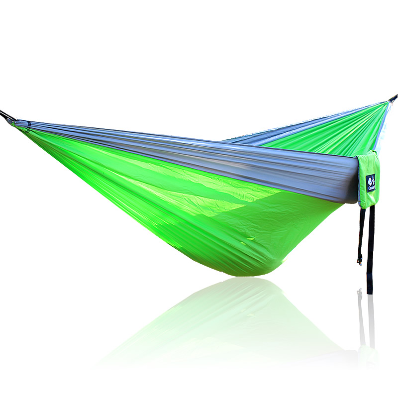 Gray Green Gray Nylon Hammock 300*200cm Outdoor Furniture Green Hammock Parachute Cloth