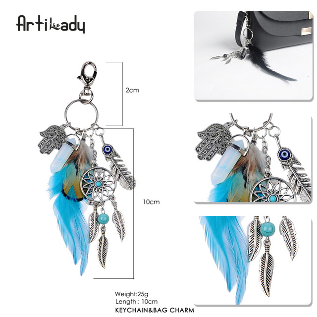 Artilady natural shell keychain opal stone dreamcatcher keyring bag charm boho jewelry feather keychain for women 4