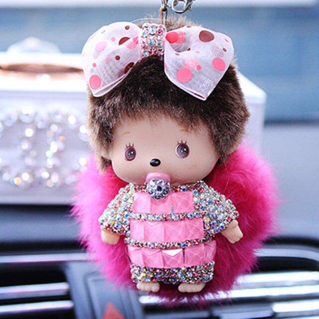 Popular bonito Inlay cristal de Monchichi chaveiro anel chave do carro de pom pom de mulheres saco porte clef