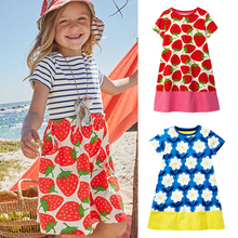 2019 flower print girl dress cotton kids dresses for girls cute girls summer dress knee-length baby short sleeved child clothes