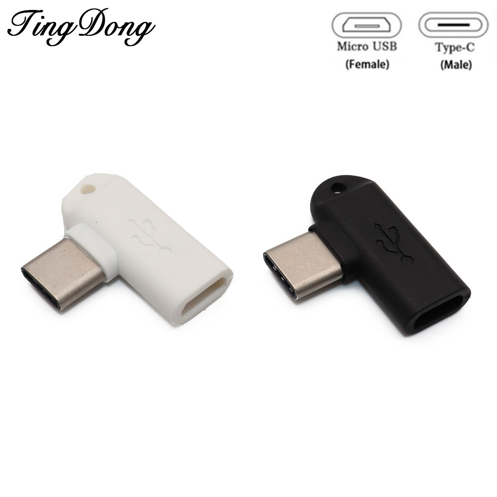 90 Degree Type C Male To Micro USB Female Data Sync Charge Converter Adapter For Xiaomi Mi 8 For Redmi Note 7 For Huawei P2