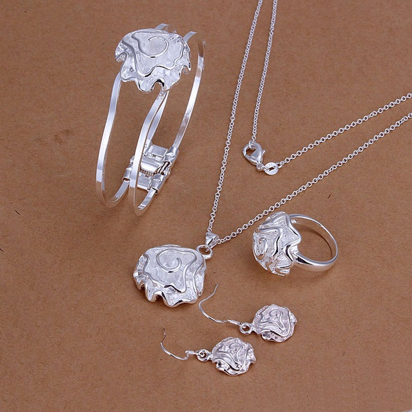 Silver plated fashion noble elegant refined luxury gorgeous roses four piece sets hot selling classic silver jewelry S243