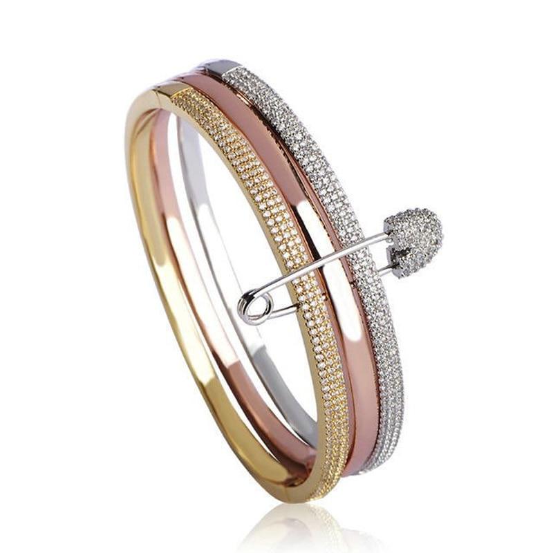 Индивидуальный дизайн, 3 круглых браслета с булавками для женщин, белый, розовый, золотой цвет, любовь, Браслет манжета, медь, Pulseira Feminina