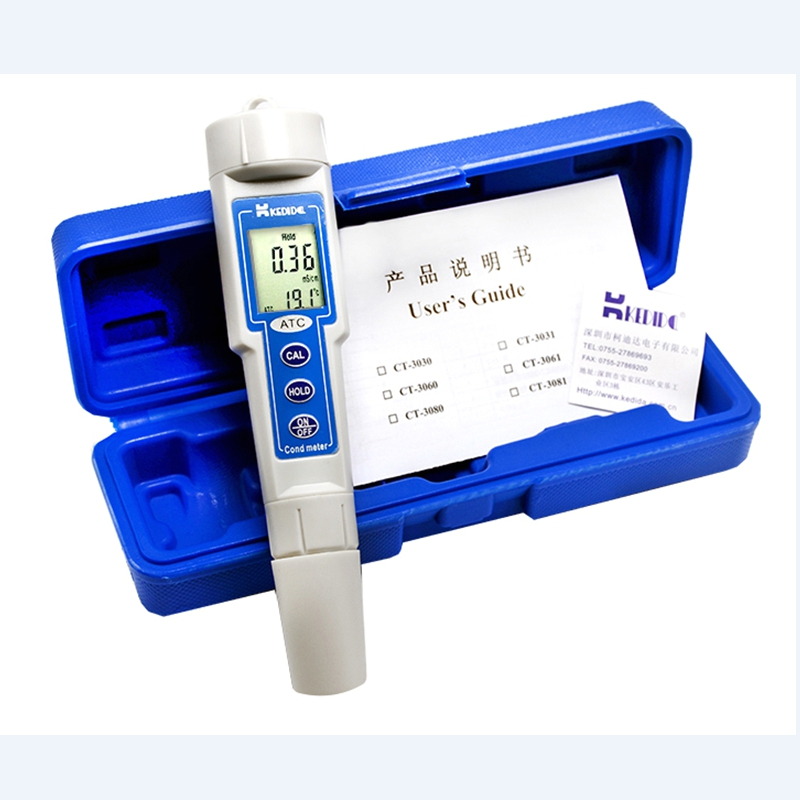 Kedida CT3031 Portable Waterproof Conductivity Meter 0~19.99mS/cm Digital LCD ATC Conductance Water Quality Cond Temp Tester