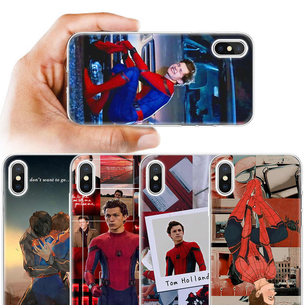 Funda de silicona antigolpes para iPhone Apple 11 11Pro X XS XR XS MAX 8 7 6 6S 5 5S 5E 5C Plus funda para teléfono con impresión Tom Holland