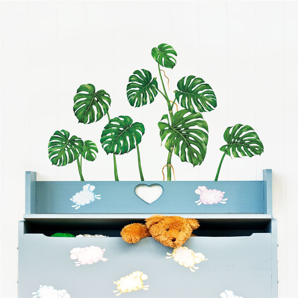 Wall Stickers Television Background Wall Stickers Tropical Green