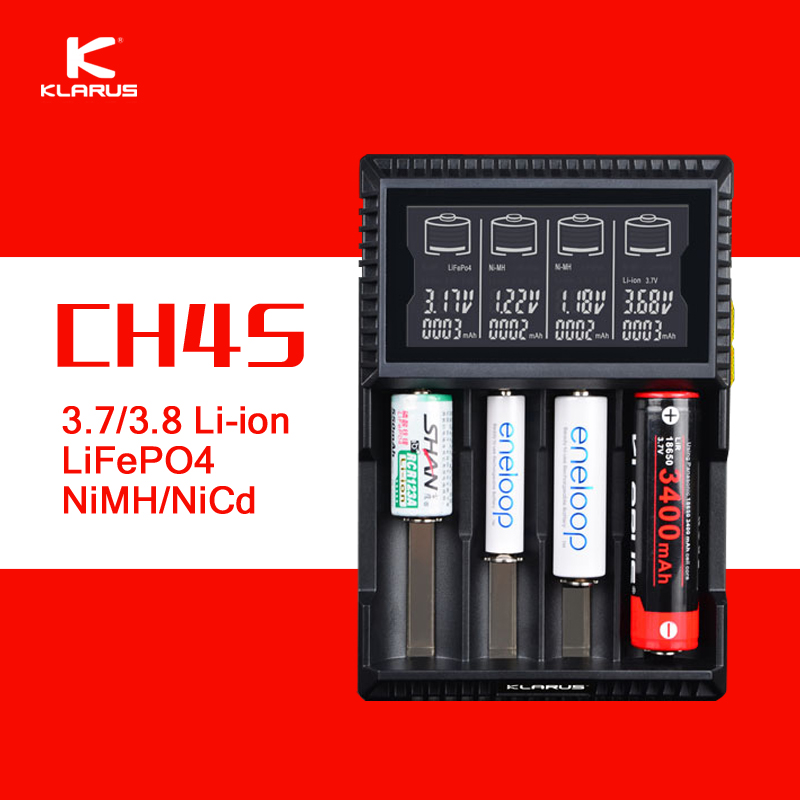 ФОТО Original Klarus CH4S Smart Battery Charger AC USB Input 4 Slot LCD Intelligent Battery Charger for C AA AAA 18650 26650 14500