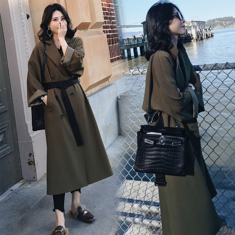 YASUGUOJI New 2019 Office Lady Fashion Double Breasted Adjustable Waist Belt Long   Trench   Coat Women Army Green Windbreaker L016