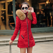 New 2015 Winter Women Parka Outerwear Duck Down Jacket With Large Fur Collar Plus Size L – XXXL Thickening Long Coat A104