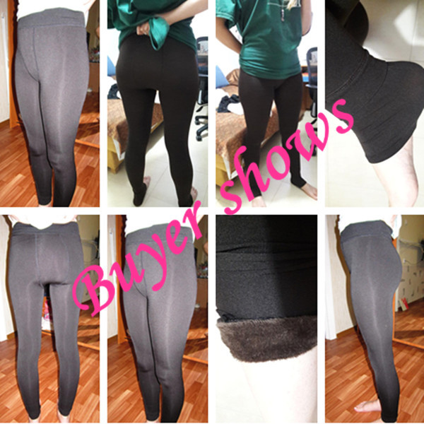 CHRLEISURE Women's Warm Velvet Leggings Autumn-Winter Big Size Candy Colors Thick Faux Knitted Thicken Slim Stretch Legging 6