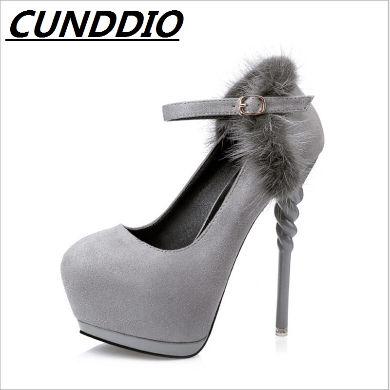 199B-21 women's shoes Sexy horse hair Word with Super high Fine with Round head Waterproof platform Female high heels europe and super high heels 14cm fashion shoes waterproof fish head sexy nightclub fine with plaid shoes