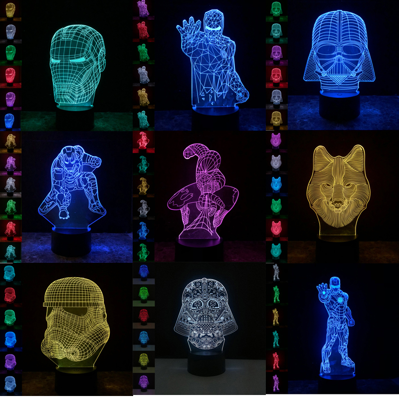 Superheros LED 3D Night Lights Stars Wars Creative Desk Lamp Table Touch Usb Charge Home Decor Bulbing 7 Color Change Luminaria цена