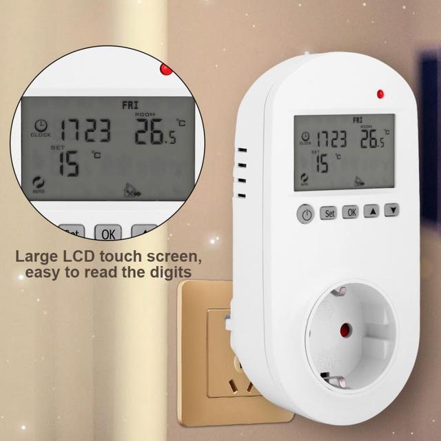אלקטרוני דיגיטלי LCD תצוגת שקע מתג האיחוד האירופי תקע לשקע המטבח חימום טרמוסטט אלחוטי טמפרטורת שקע 200 240V