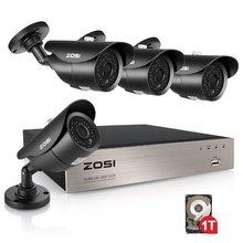 8CH CCTV Sistema de cámara ZOSI 720 p DVR 4 UNIDS 1500TVL IR Resistente A la Intemperie Al Aire Libre Sistema de Video Vigilancia de la Seguridad Casera 8CH Kit DVR