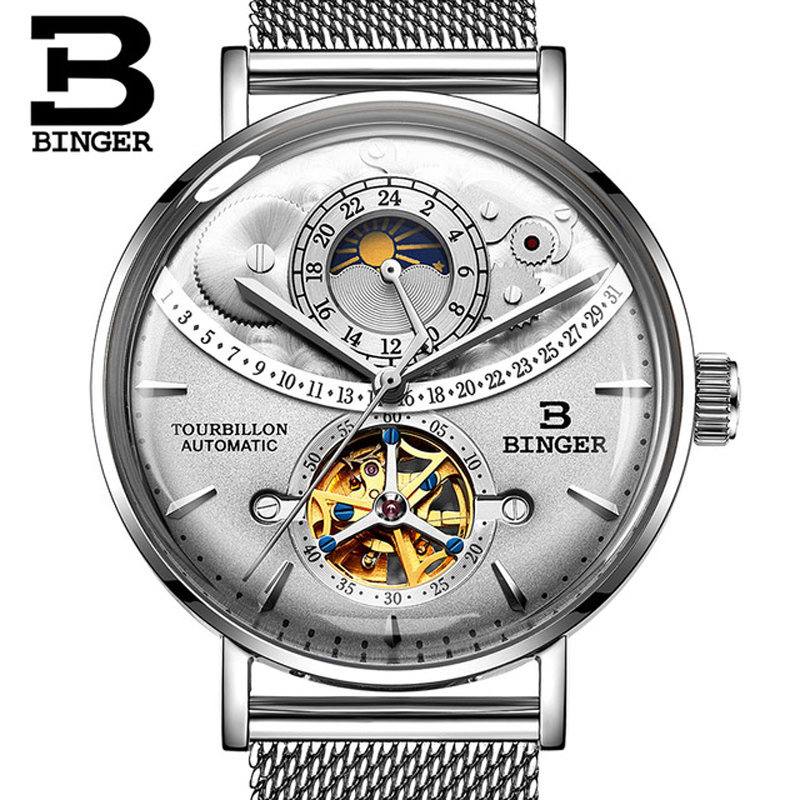 Switzerland Automatic Watch Men BINGER Skeleton Mechanical Men Watches Fashion Brand Sapphire Waterproof Relogio Masculino 2019
