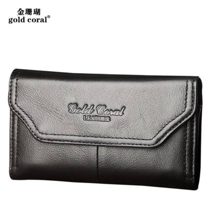 GOLD CORAL Genuine Leather Men Belt Waist Bag iPhone 6 7 Plus Phone Pouch 6 Inch Universal Phone Case Waist Pack Men Wallet Bags phone bag for men phone pouch belt clip pu leather mobile phone bag waist bag fashion belt clip bag for 4 7 6 3 inch phone
