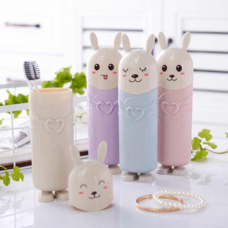 1pc Portable Tooth Brush Storage Box Cartoon Travel Toothbrush Organizer Tableware Fork Spoons Protect Container