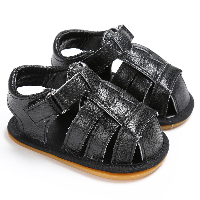 Fashion Toddler Baby Infant Boy Soft Sole Crib Footwear Summer Sandals Non-Slip PU Leather First Walkers Shoes Footwear