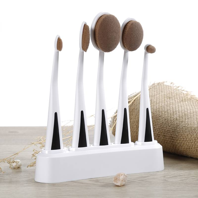 Professional 5Pcs Oval Makeup Brush Sets Toothbrush Shape Powder Foundation Eyeshadow Eyeliner Brushes With Holder Stand  QIpP heart shape brush stand brush holder