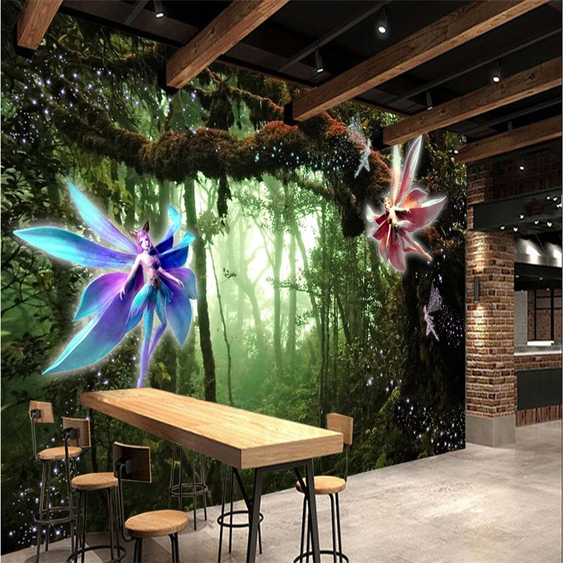 beibehang 3D Mural Custom Tree Wizard Mystery Forest Fairy Tale World 3D Backdrop Wall papel de parede para quarto