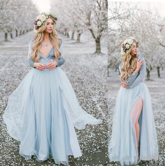 2019 Country   Bridesmaid     Dresses   Long Sleeves V Neck Sexy Prom   Dresses   Side Split Tulle A Line Maid of Honor Party Gowns