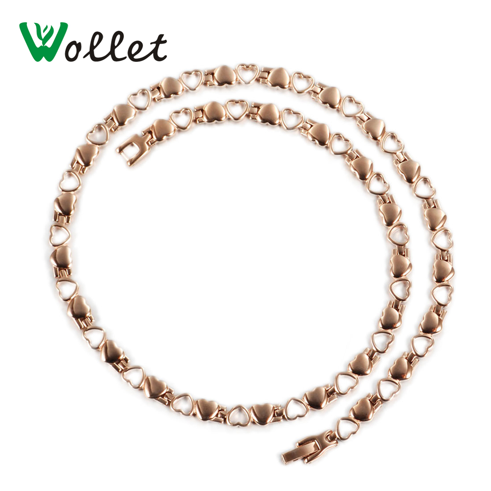 Wollet Jewelry Magnetic Stainless Steel Necklace For Women Heart Shape Rose Gold 5 in 1 Infrared Germanium Ion Health Energy