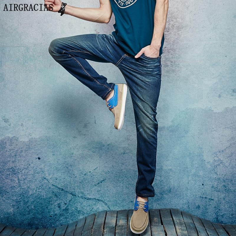 AIRGRACIAS Brand New Design Men Jeans Dark Blue Stretch Denim Jeans Mens Pants Zip Fly Biker Jean Male Long Trousers  new fashion brand designer men s denim mens jeans slim fit men biker jeans trousers straight leg dark blue jean pants