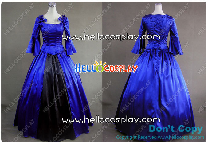 Japanese Anime Outfit Colonial Lolita Ball Gown Prom Blue