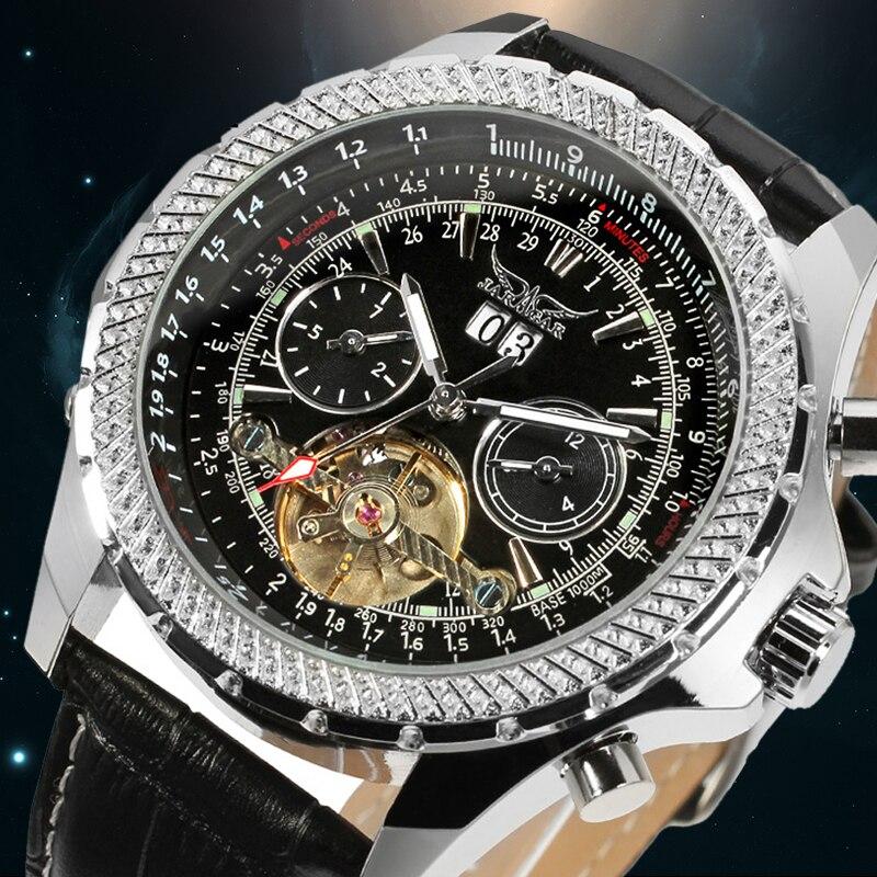 ФОТО Luxury Tourbillon Automaitc Stainless Steel Complete Calendar Casual Waterproof Wristwatch Color Black with original box