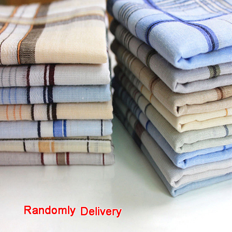 10pcs/lot Striped Plaid Men Party Handkerchiefs 40*40cm Cotton Fabric Hanky Wedding Handkerchief Christmas Unisex Pocket Square