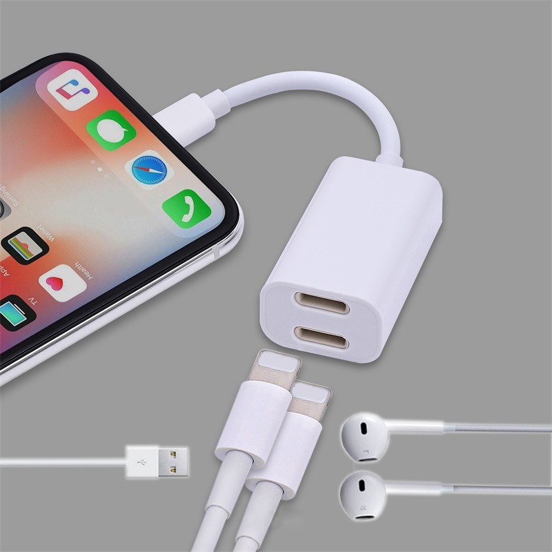For IPhone X AUX Adapter BF03 2in1 Adaptor For Lightning To 3.5mm USB Aux Charging Data Cable Adaptador For IPhone 7 8 8Plus X