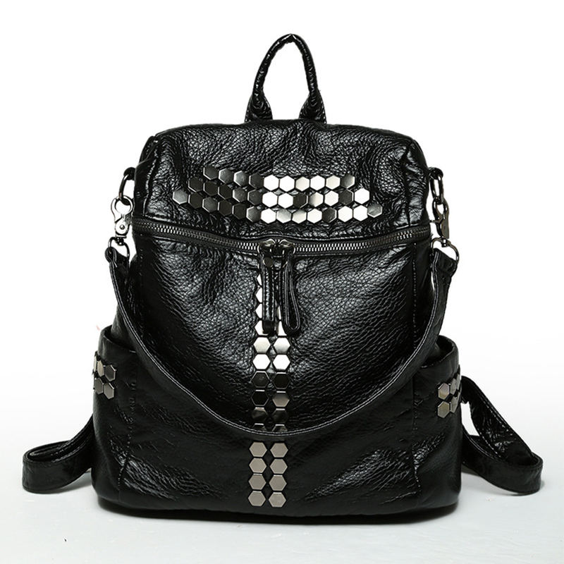 Rivet School Bags For Teenagers Girls Casual Soft Washed Leather Women Backpack Travel Backpacks Bags Female Shoulder Bag Mochi