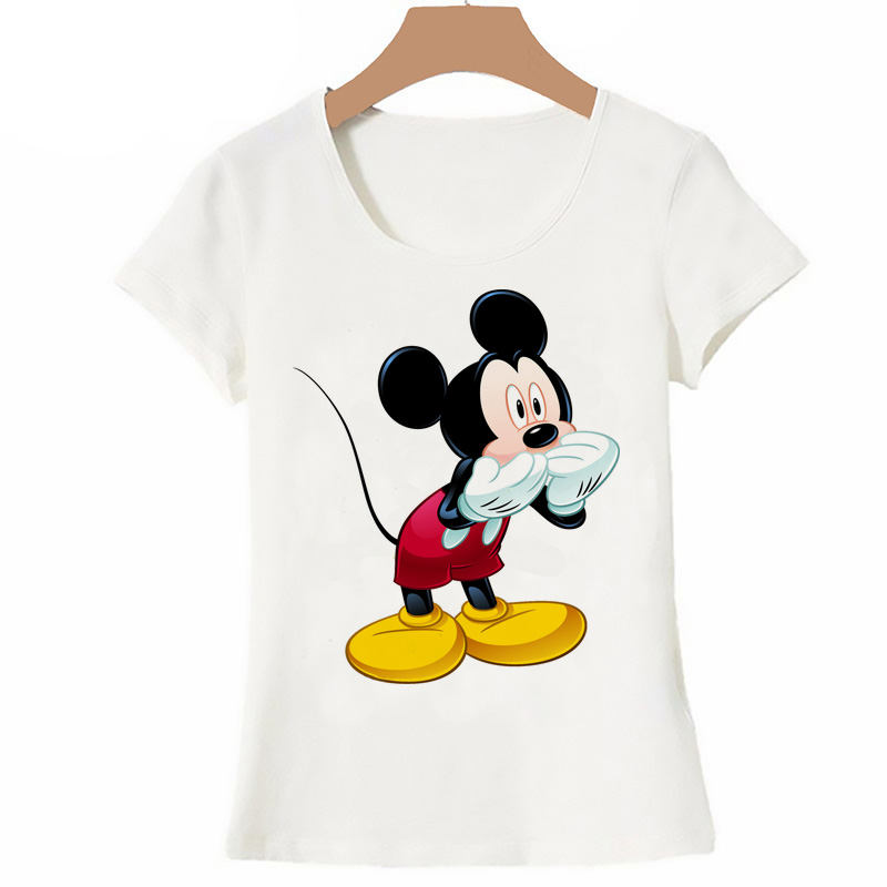 New Summer Women Tops Anime Cartoon Cute Kiss Mickey Mouse T Shirt Cool Tee Female Clothing Kiss Tshirt