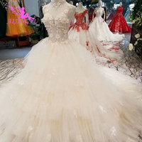 AIJINGYU Long Train Dress Vintage Boho Gowns Lace Bridal Marriage Wears India Long Back Gown Antique Wedding Dresses