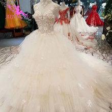 AIJINGYU ロングトレインドレスヴィンテージ自由奔放に生きるレースブライダル結婚着たインドロングバックアンティークウェディングドレス