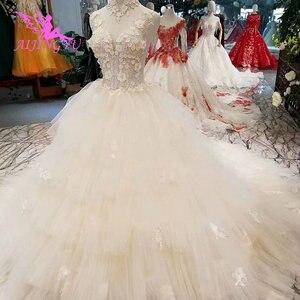 Image 1 - Платье с длинным шлейфом AIJINGYU, винтажное платье в стиле бохо, кружевное свадебное платье для невесты, индийское длинное платье с открытой спиной, античные свадебные платья