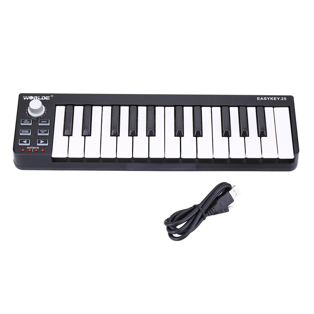 Portable MIDI Keyboard Mini 25 Keys MIDI Keyboard Controller USB MIDI Controller