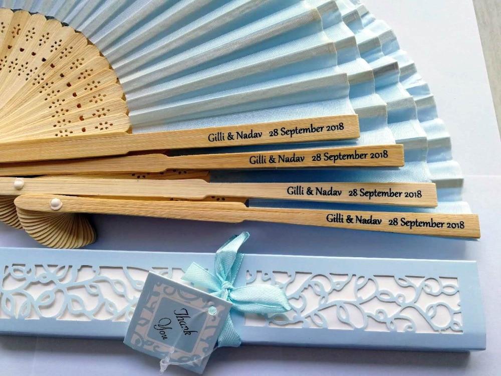 120 pcs lot Personalized Luxurious Silk Fold hand Fan in Elegant Laser Cut Gift Box Party