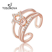 Todorova Star Heart Wedding Rings Multilayer 3 Row Cubic Zirconia Open for Women Fashion Jewelry bague femme