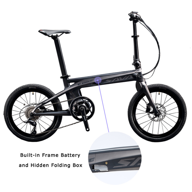 """SAVA E8 Électrique Vélo En Fiber De Carbone 20 """"Pliage ebike 36 V/180 W Pedelec Pliable SHIMANO 9 S vélo avec 8.7Ah SAMSUNG Batterie"""
