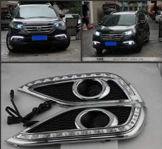 Higher star 12W 2units Led day runing lights,car Front fog lamp DRL with turn amber light function For Honda CRV 2012 2014