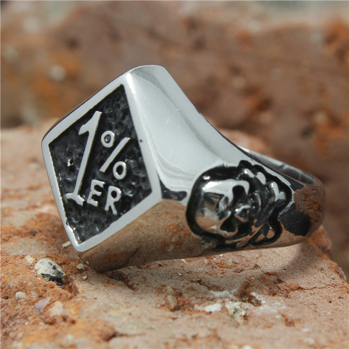 2015 Cool 316L Stainless Steel Silver Biker 1%er Skull Ring Mens Motorcycle Biker Band Party Polishing Skull Ring