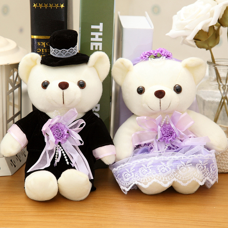 20cm Romantic Wedding Bear Couples Plush Toys Teddy Bear Doll  2pcs/pair Wedding Gift Bear Bride & Groom Valentine's Day Gifts