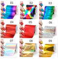 10 шт./лот разные цвета Ногтей Передача Foils DIY Фольга Лак Для Ногтей Наклейки Золото Серебро Дизайн Ногтей Инструмент