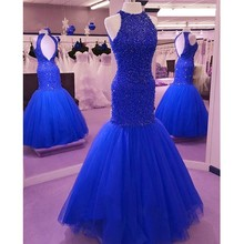 BONJEAN Halter Mermaid Prom Dresses Long 2019 Party Dresses