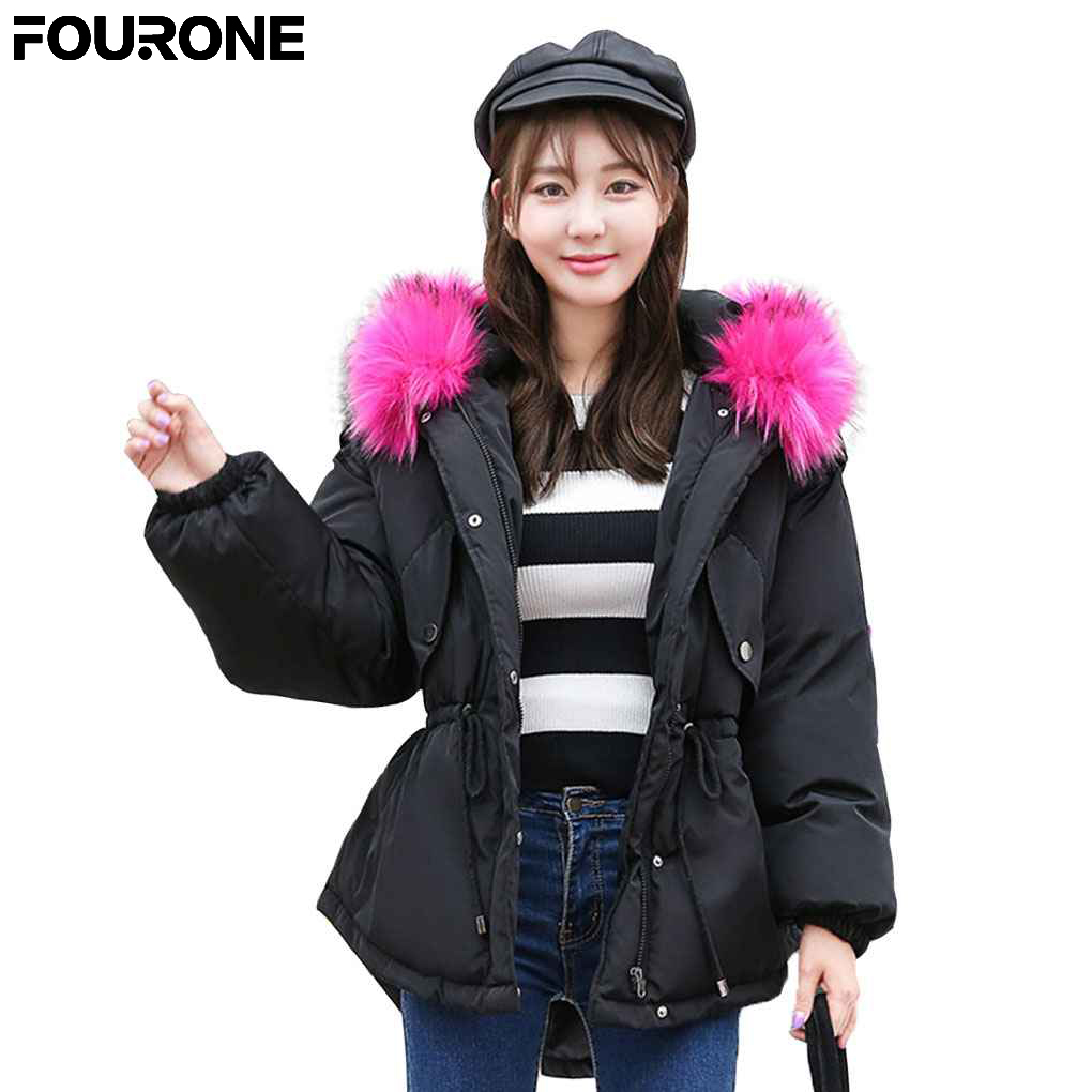 2017 Winter Female Loose Big Size Jacket Fur Collar Short Hooded Jacket Padded Cotton Thick Outwear Coat Parkas 2017 new casual parkas long winter coat big fur collar hooded thick loose jacket cotton padded jackets female outwear plus sizes