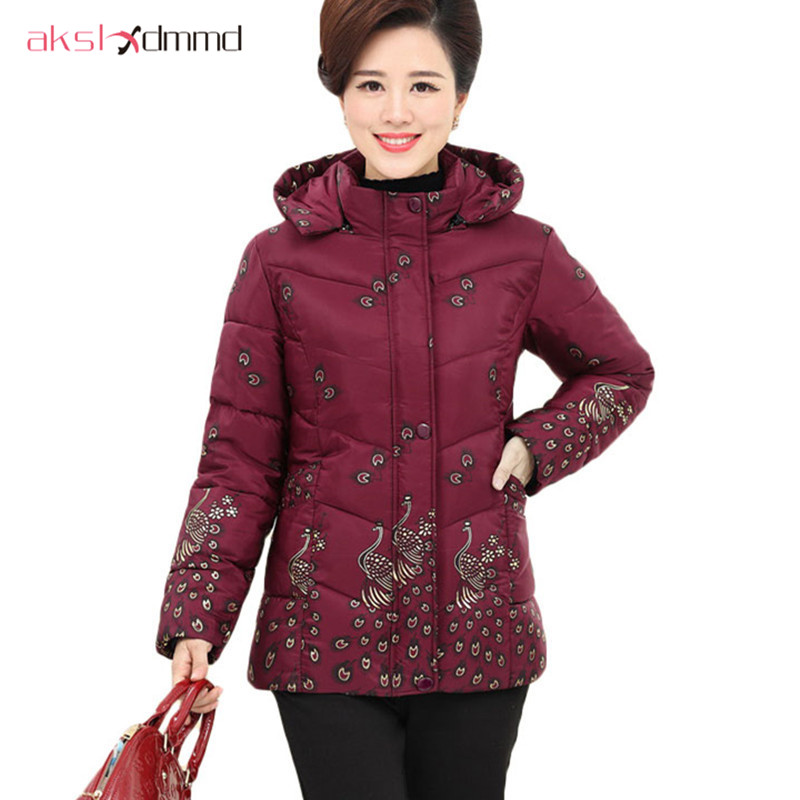 AKSLXDMMD 2017 Parka Plus Size Print Peacock Hooded Padded Coat Women New Winter Spring Mother Jacket Coat Abrigos Mujer LH495 plus size letter print hooded sweatshirt dress